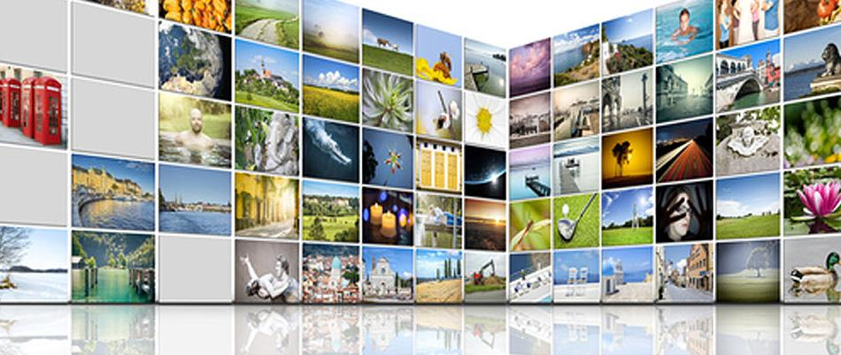 Video walls intersecting with different images.