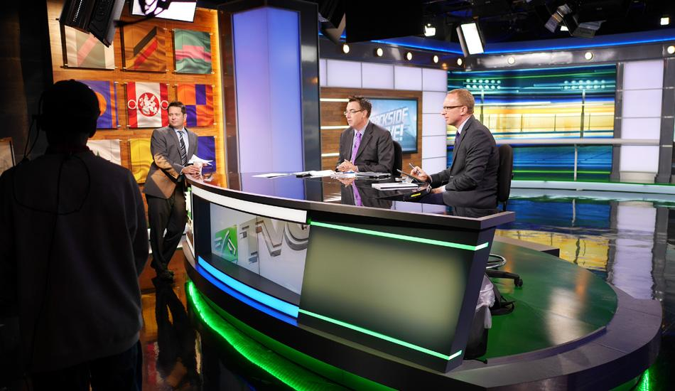 TVG Studio Stage with three television anchors talking.