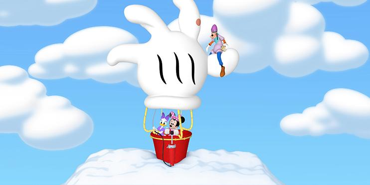 Minnie Mouse in a hot air balloon with Goofy on top of the balloon.